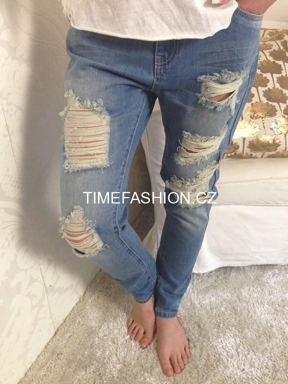 50c74ee9236 Šisované trhané denim jeans džíny BOYFRIEND